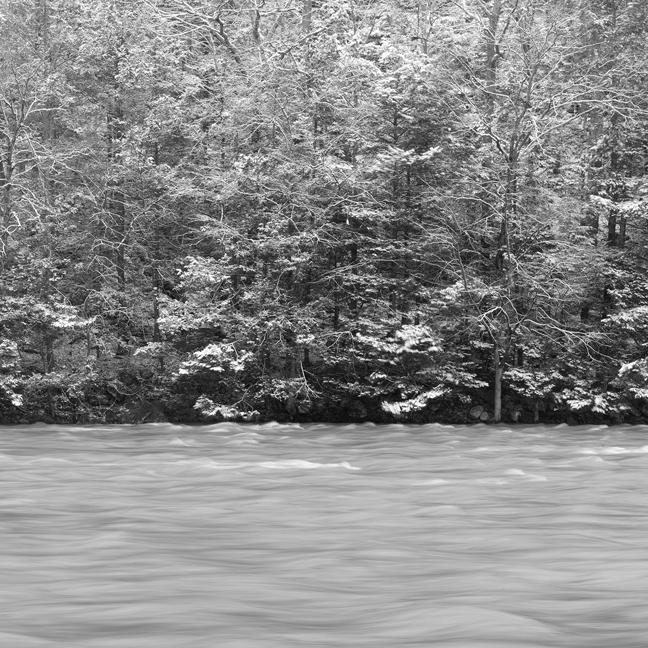 Housatonic River along River Road after light snowfall.